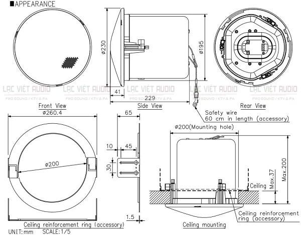 Bản vẽ kỹ thuật của loa âm trần Toa 30W F-2352C