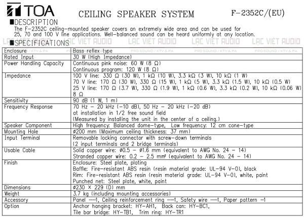 Catalog thông số kỹ thuật đầy đủ của Toa F-2352c