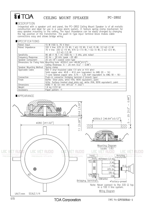 Loa âm trần 15W TOA PC-2852 PDF
