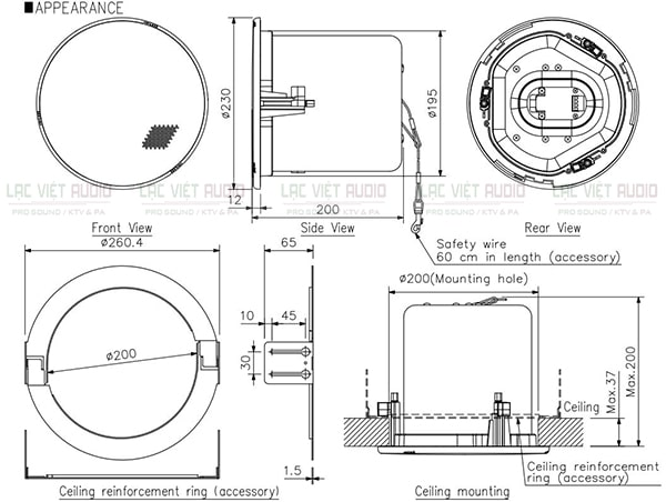 Bản vẽ kỹ thuật của loa TOA F-2322C