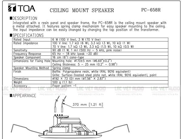 Bản thông số PDF Loa âm trần Toa PC-658R 6W của nhà sản xuất