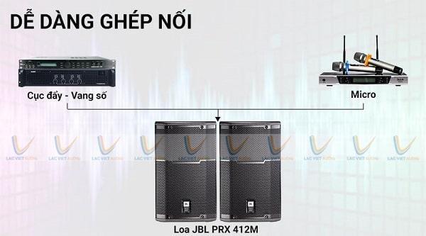 JBL PRX 412M dễ dàng phối ghép với các thiết bị âm thanh khác