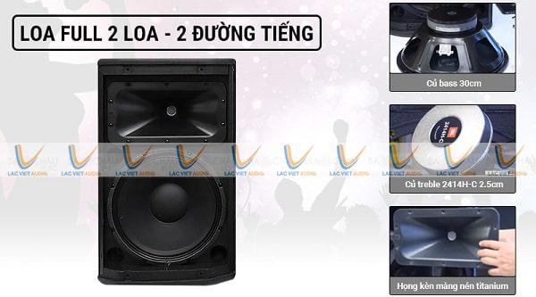 Loa JBL PRX 412M thiết kế theo kiểu 2 loa, 2 đường tiếng cho âm thanh hay hơn