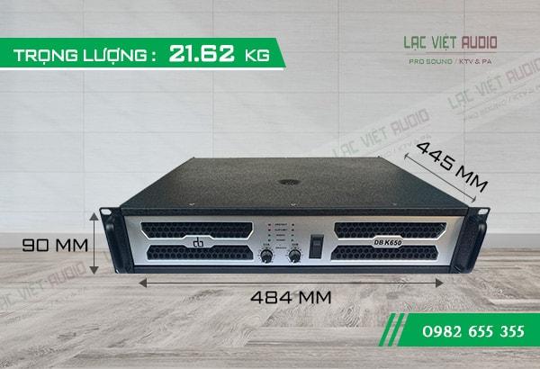 Kích thước của Cục đẩy công suất DB K650 - Lạc Việt Audio