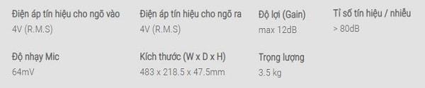 Thông số kỹ thuật vang số karaoke Paramax MX-2000