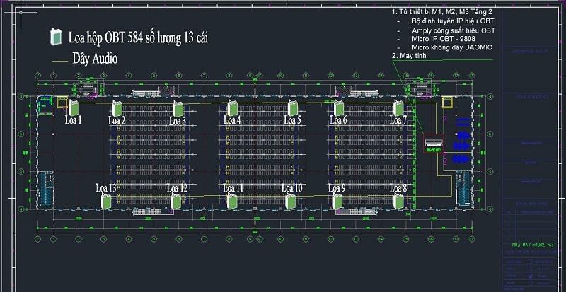 Bản vẽ CAD để khách hàng nhìn trực quan được vị trí lắp đặt loa