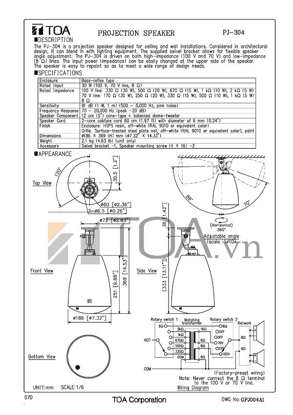 Loa phóng thanh TOA PJ-304