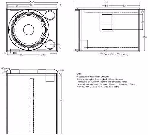 Sơ đồ thùng loa JBL 718S