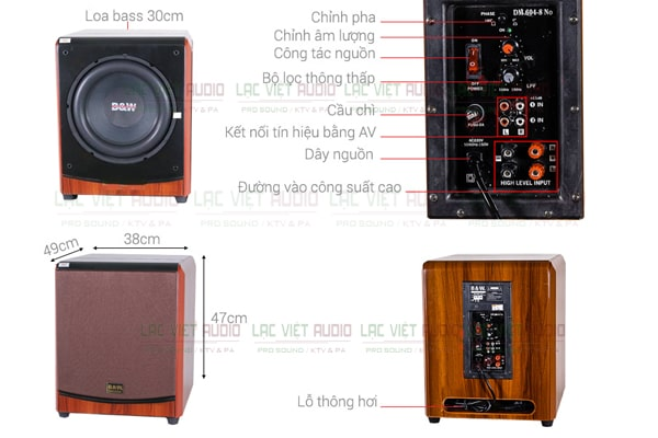 thiết kế của sản phẩm Loa Sub siêu trầm BW 604-8 No