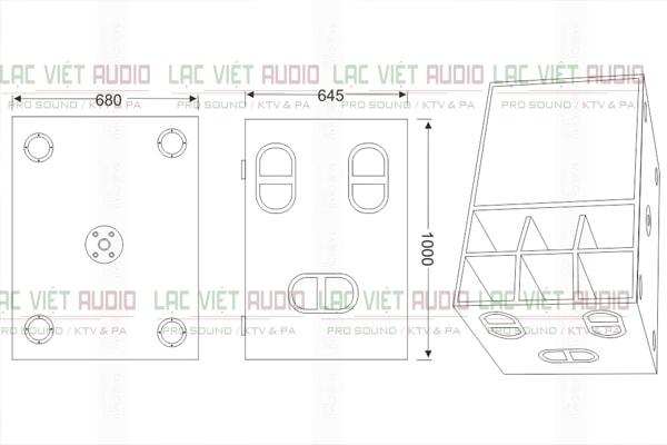 Kích thước của loa Cat King VF18sub Lạc Việt Audio
