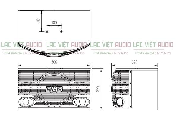Kích thước của sản phẩm loa BMB CSN 500 Lạc Việt Audio