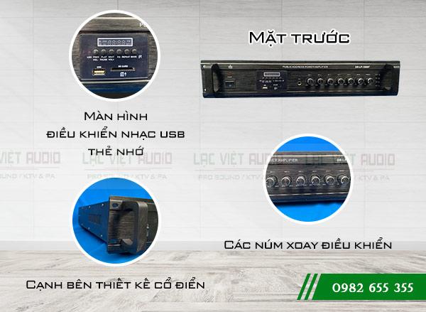 Chi tiết cấu tạo mặt trước Amply DB LP 1000F - Lạc Việt Audio