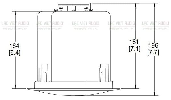 Chiều sâu của loa âm trần JBL 14CT
