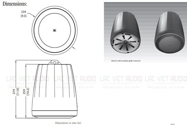 Thiết kế bên ngoài của sản phẩm Loa JBL Control 65P/T