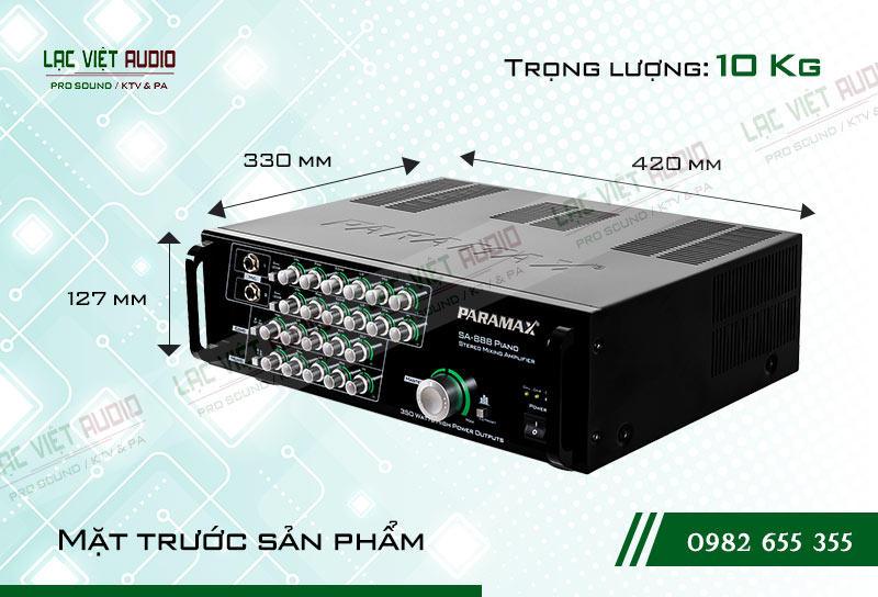 Thiết kế bên ngoài của sản phẩm Amply paramax SA 888 PIANO NEW