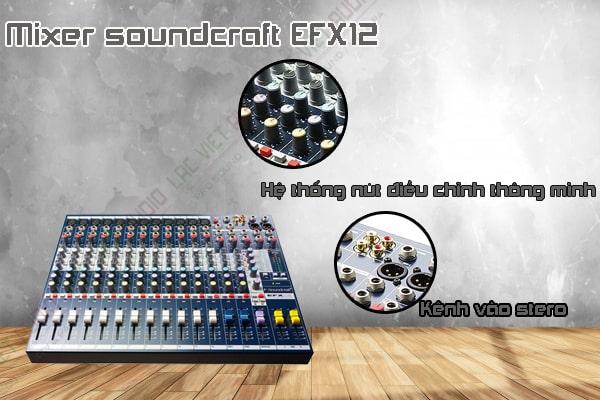 Thiết kế bên ngoài của sản phẩm Mixer soundcraft EFX12