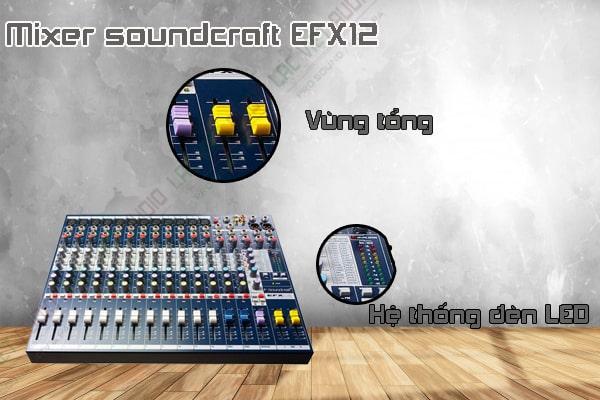 Các tính năng nổi bật của sản phẩm Mixer soundcraft EFX12