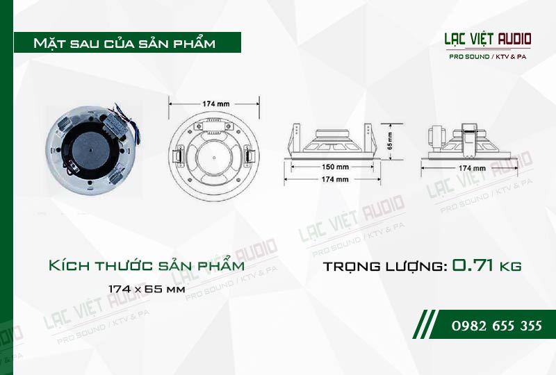 Thiết kế bên ngoài của sản phẩm Loa gắn trần ITC T105R