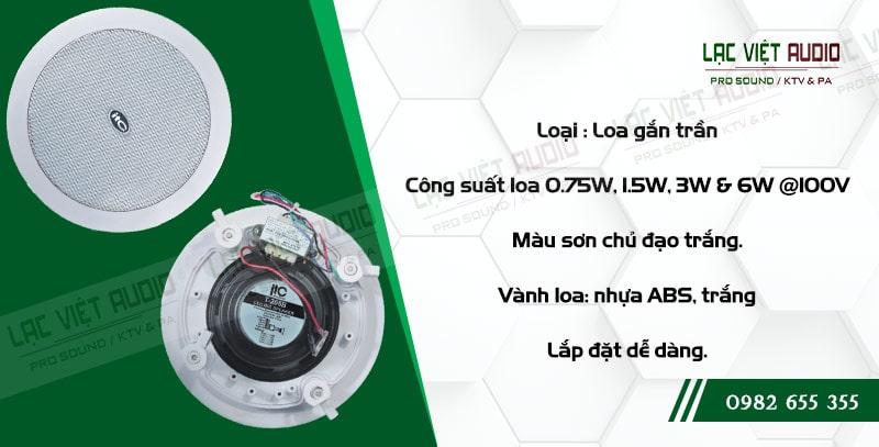 Các đặc điểm nổi bật về tính năng của sản phẩm Loa gắn trần ITC T205B