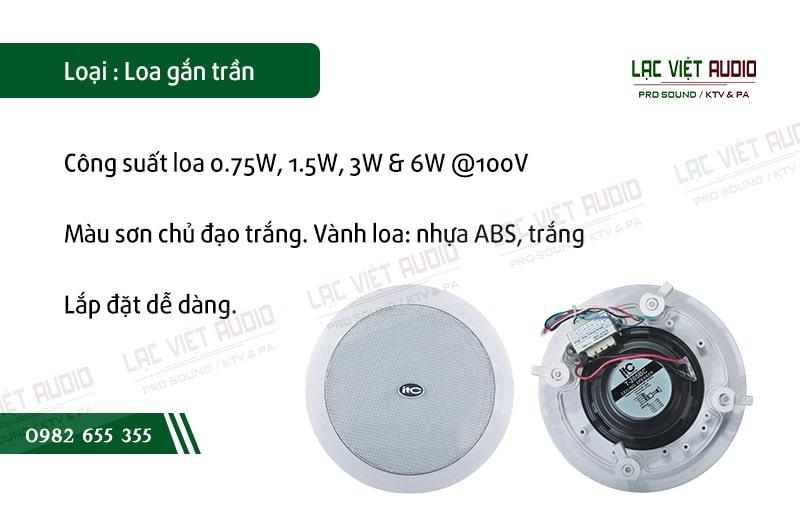 Các đặc điểm nổi bật về tính năng của sản phẩm Loa gắn trần ITC T205C