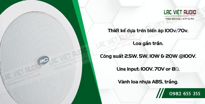 Các đặc điểm nổi bật về tính năng của sản phẩm Loa gắn trần ITC T205CW