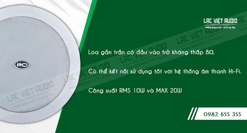 Các đặc điểm nổi bật về tính năng của sản phẩm Loa gắn trần ITC T205F