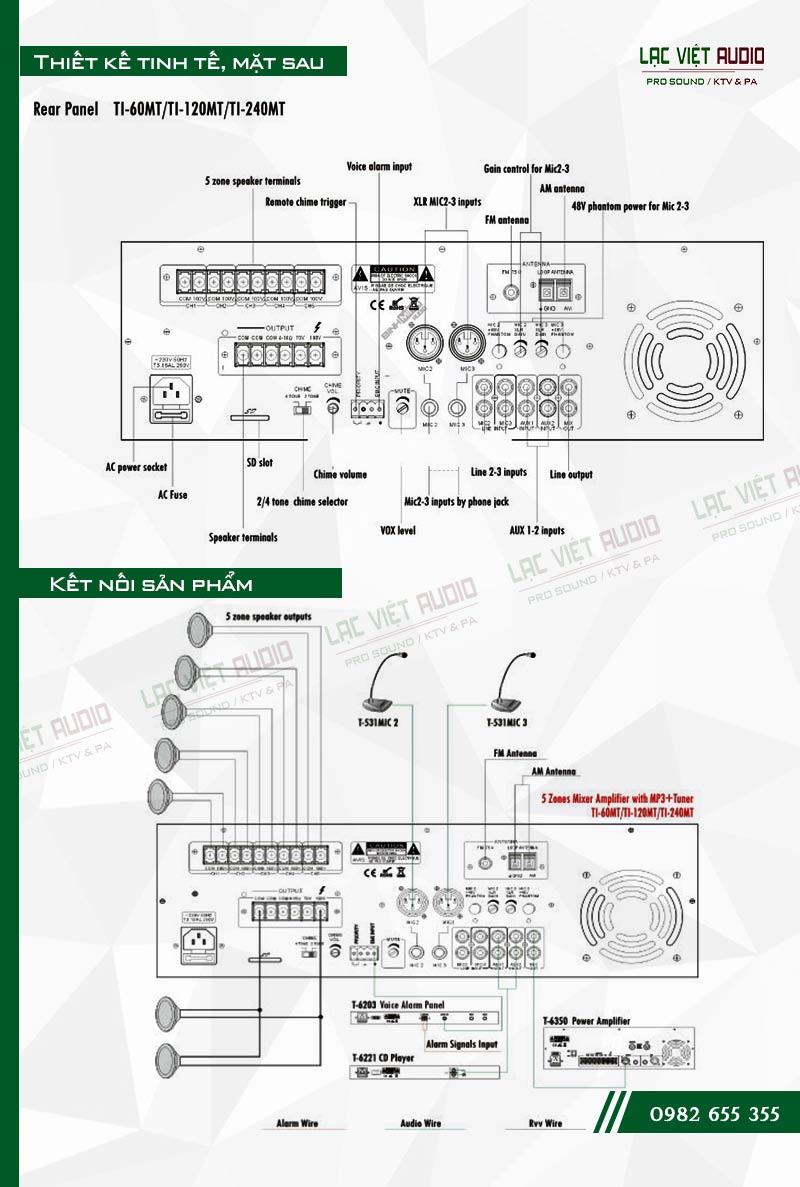 Thiết kế bên ngoài của sản phẩm Âm ly kèm loa ITC TI 120MT