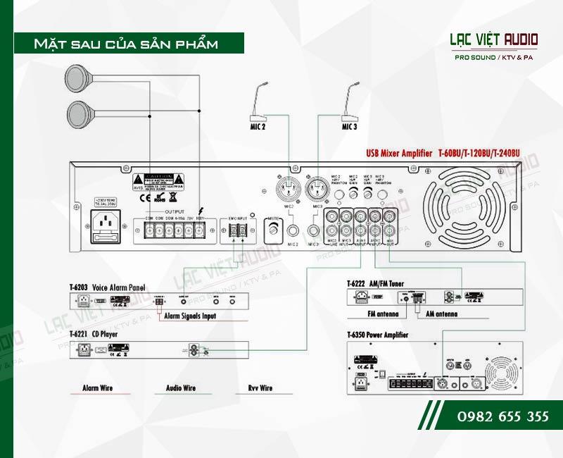 Thiết kế bên ngoài của sản phẩm Âm ly kèm loa ITC TI 240BU