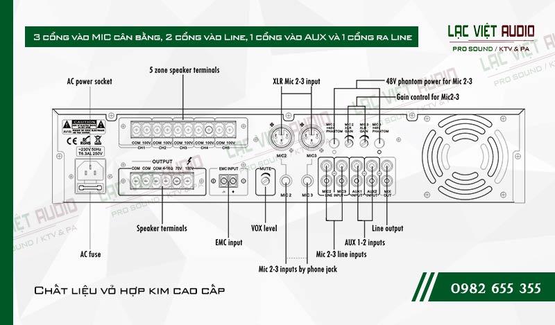 Thiết kế bên ngoài của sản phẩm Âm ly kèm loa ITC TI 240MT