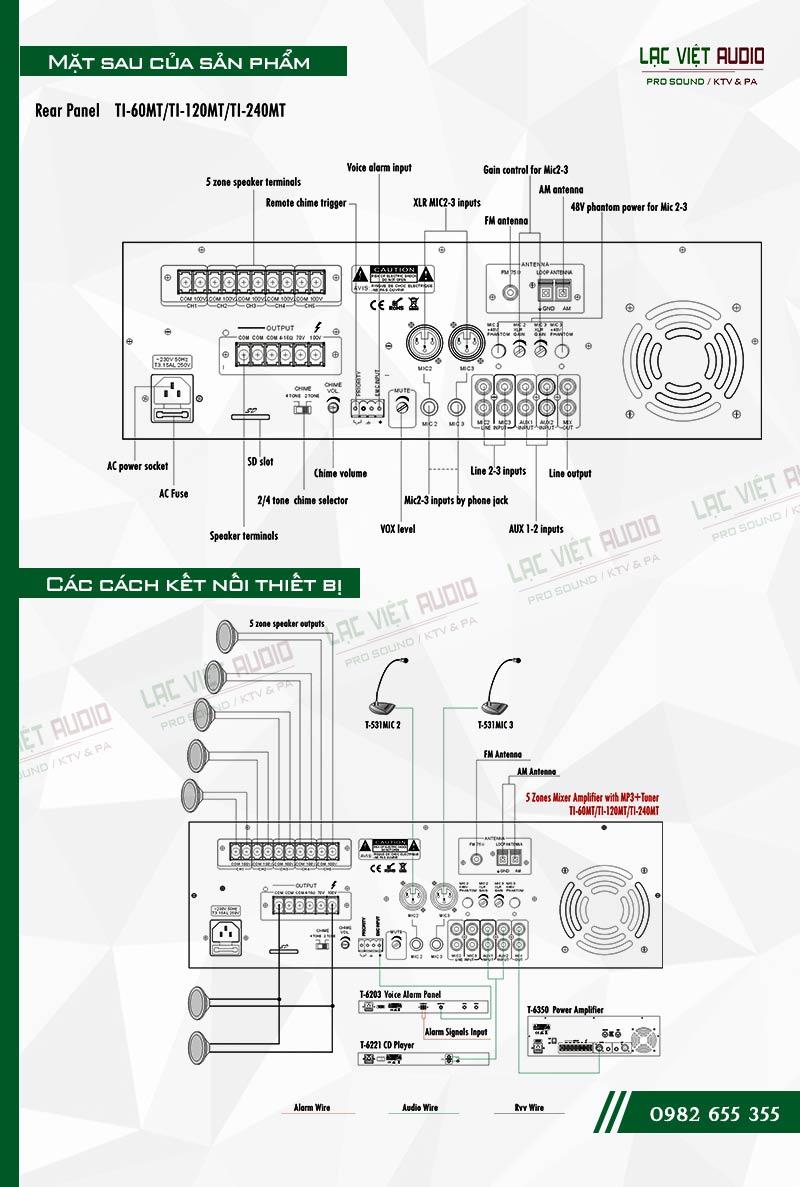 Thiết kế bên ngoài của sản phẩm Âm ly kèm loa ITC TI 60MT