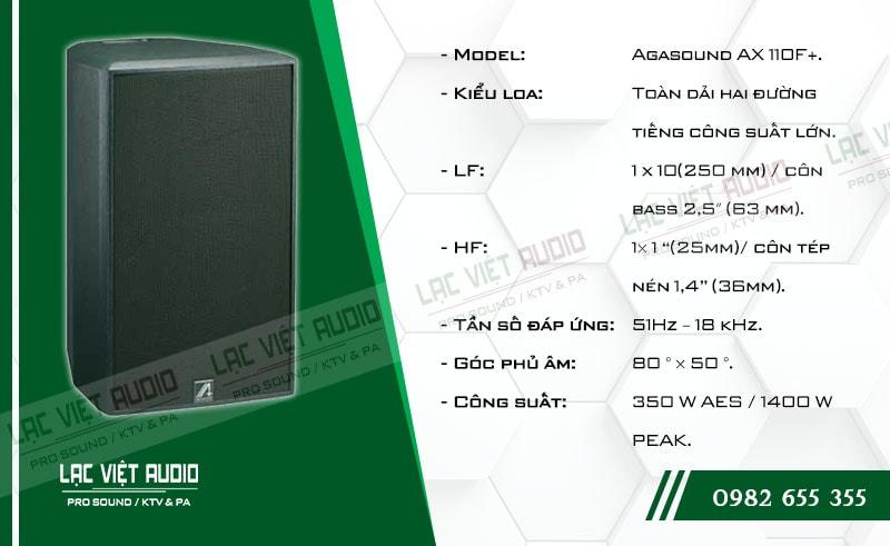 Tính năng nổi bật của sản phẩm Loa Agasound AX 110F+