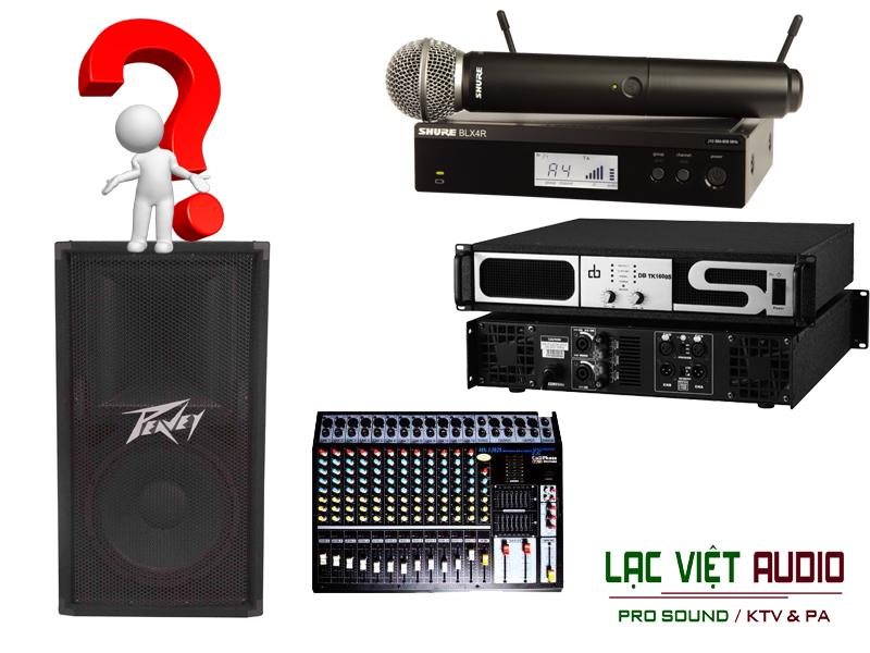 Hạng mục các thiết bị trong dự án dàn âm thanh của nhà hàng tiệc cưới Hòa Bình.