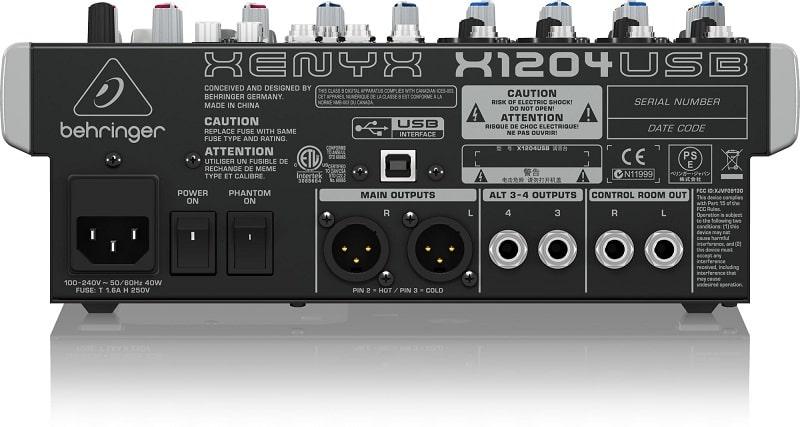 Mặt sau Mixer Behringer XENYX X1204USB