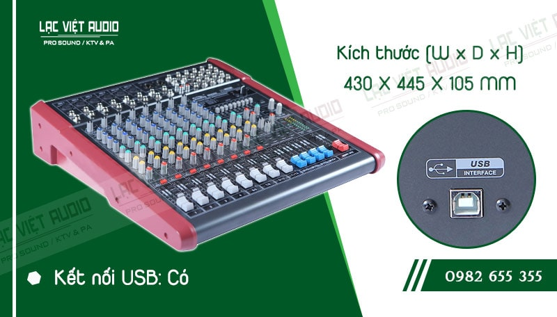 Thiết kế bên ngoài của sản phẩm Mixer Soundking MIIX08C