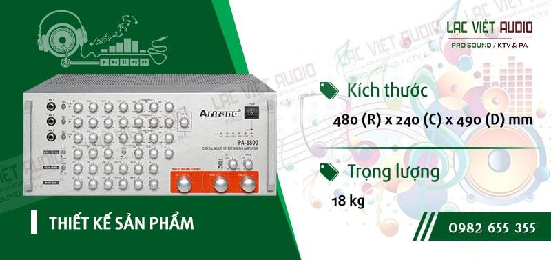 Thiết kế bên ngoài của sản phẩm AMPLY KARAOKE ARIRANG PA-8800