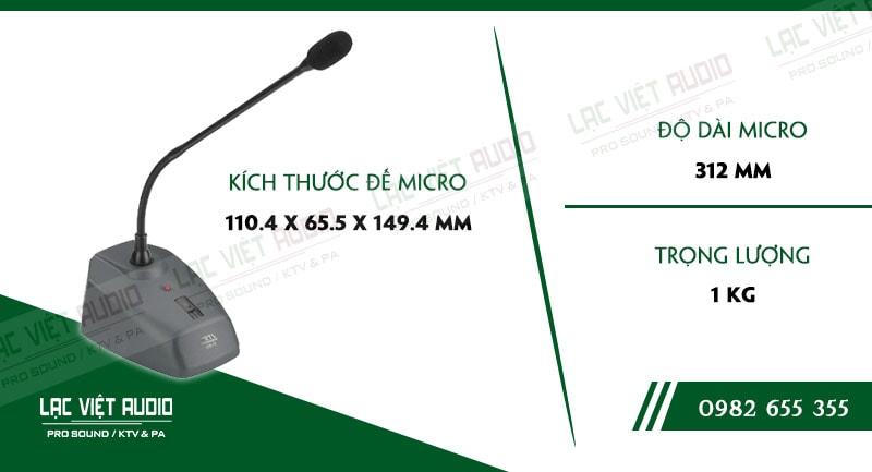 Thông số kỹ thuật của sản phẩm MICRO CỔ NGỖNG JTS ST 850