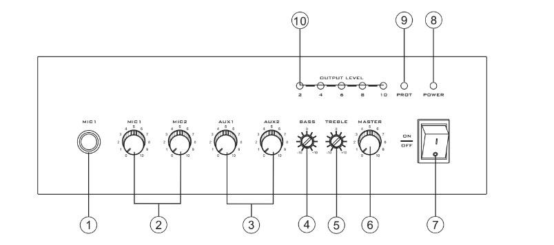 Thiết kế tăng âm liền mixer 120W AV MA 120