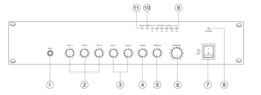 Cấu tạo tăng âm liền mixer 240W AV MA 240R