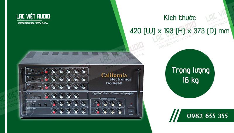 Thiết kế bên ngoài của sản phẩm Amply karaoke California Pro-968B-II