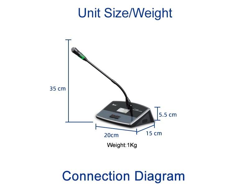 Kích thước bộ micro đại biểu Nuoxun NX9886D