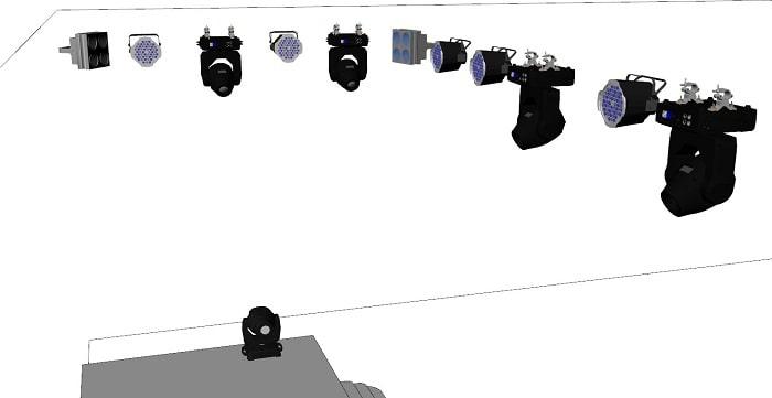 Các loại đèn sân khấu dược bố trí đan xen với nhau tạo hiệu ứng mạnh mẽ