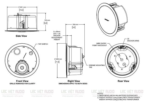 Bản vẽ kỹ thuật của loa âm trần Bose DS-40F