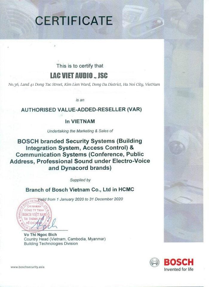 Giấy chứng nhận Lạc Việt là đơn vị phân phối chính thức hãng BOSCH tại Việt Nam