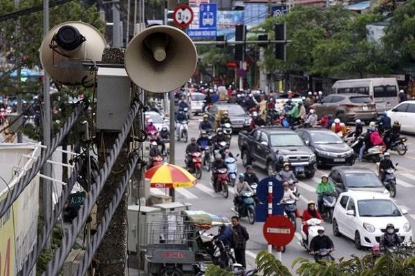 Hình loa phát thanh trong các khu dân cư, đường phố