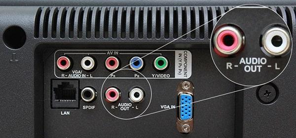 Cách kết nối loa với tv bằng jack âm thanh trắng - đỏ