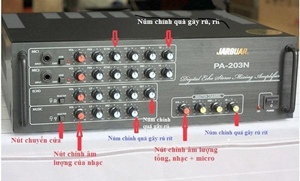 Cách nút chức năng bạn cần quan tâm khi thực hiện cách chỉnh amply nghe nhạc