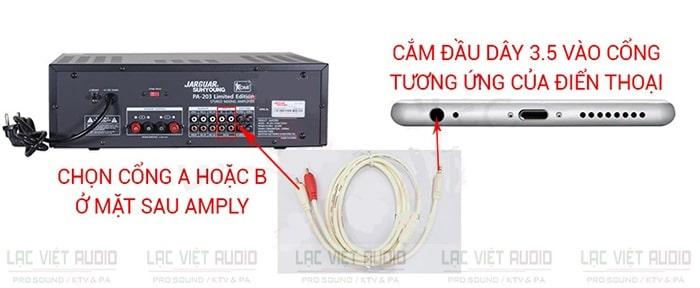 Cách kết nối điện thoại với amply bằng dây jack AV 3.5mm