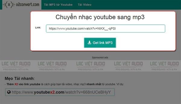 Điền link URL của video youtube bạn muốn chuyển đổi