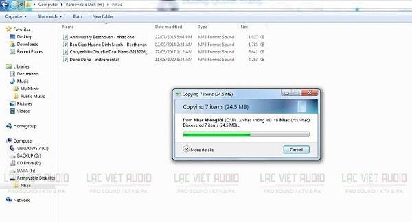 Chuyển file nhạc từ máy tính sang USB