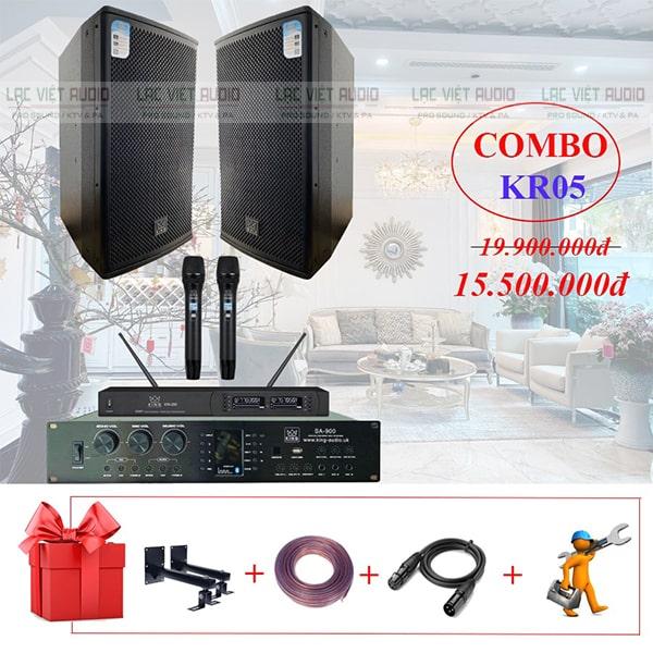 Bộ sản phẩm của dàn karaoke KR05 gồm 01 đôi loa, bộ mic không dây và 01 amply liền vang